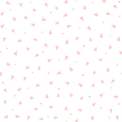 Repeating pink triangles and round dots on white background. Cute geometric seamless pattern. Endless girlish print.