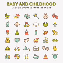 Baby colored outline icons. Vector set.