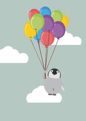 Penguin baby  holding balloon