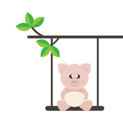 cartoon cute pig sitting on a swing on a branch