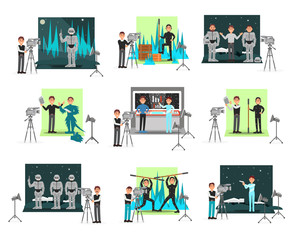 Movie making set, operators and cinematograph people, vector Illustrations isolated