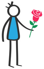 Simple colorful stick figure man holding red rose, Valentine's Day, dating, isolated on white background