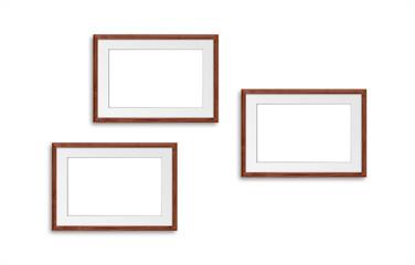 Three photo frames isolated on white background, interior decor mockup