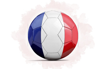 Digital Artwork sketch of a Soccer ball with team flag.  France, Europe