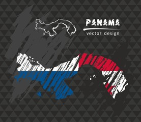 Panama national vector map with sketch chalk flag. Sketch chalk hand drawn illustration