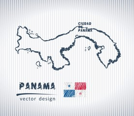 Panama vector chalk drawing map isolated on a white background