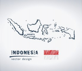Indonesia national vector drawing map on white background
