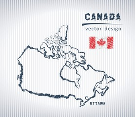 Canada vector chalk drawing map isolated on a white background