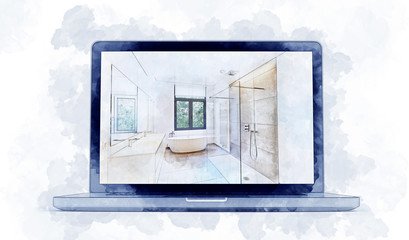 Digital Artwork sketch of a modern laptop and dreaming Illustration