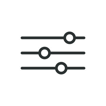 Black and white simple vector line art icon of horizontal adjustment knobs