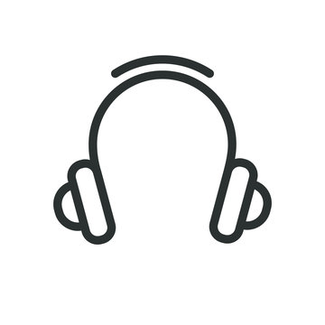 Black and white linear headphone icon