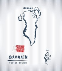 Bahrain national vector drawing map on white background
