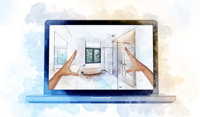 Digital Artwork sketch of a modern laptop and dreaming Illustration