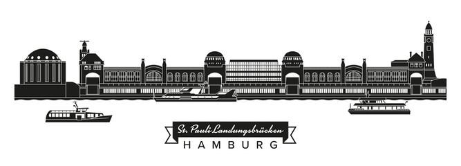 Sankt Pauli Landungsbrücken, Alter Elbtunnel und Touristenfähren, Silhouette mit Banner