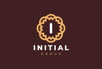 Premium universal monogram letter I initials logo. Abstract elegant flower logo icon vector design. Universal creative premium symbol. Luxury abc jewel logotype.