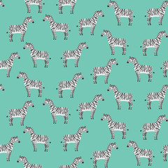 Cute cartoon black and white smiling zebras seamless pattern. Texture with childish illustration of striped zebra characters on green background for kids textile, wrapping paper, wallpaper, surface