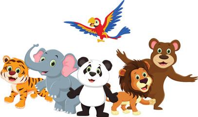 cute wild animal cartoon isolated on white background