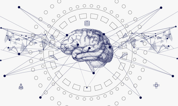 Human brain in Innovations systems global study of the connection with robotics and the development of science in the field of the cyber industry. Realistics point style with linear inphographics