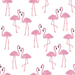 Tuinposter Flamingo Vector tropical exotic seamless pattern with flamingo.