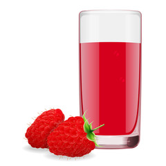 glass of refreshing delicious juice from ripe raspberry. Realistic style. Vector illustration.