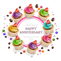 Happy Anniversary Cupcakes card Vector realistic. Round banner frame 3d illustrations