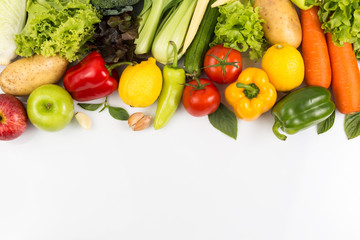 Top view of fruits and vegetables Isolated on a white background with copy space