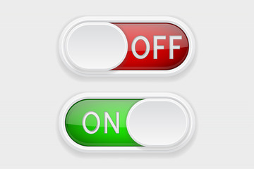 Toggle switch buttons. On and Off red and green buttons