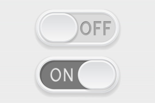 Toggle switch buttons. On and Off gray buttons