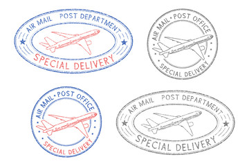 Air mail postmarks. Colored set with plane symbol and Special Delivery stamp