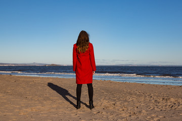 Woman on beach landscape