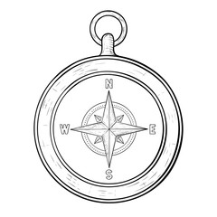 Compass. Hand drawn sketch