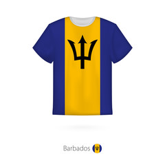 T-shirt design with flag of Barbados.