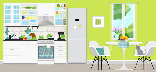 Kitchen with furniture. Cozy modern kitchen interior with table, stove, cooker hood, kitchen drawers. Vector illustration. Flat style.