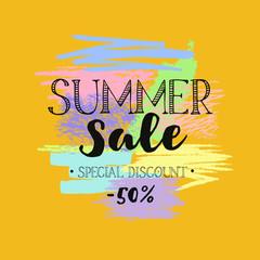 Summer Sale template banner. Vector hand drawn illustration