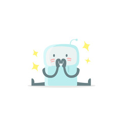 Emoji sticker Icon. Baby cute small new robot surprised and shy. Very cute for child kid picture confusion. Flat color vector illustration