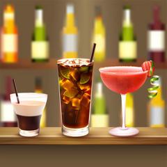 Bar Cocktails Set Composition