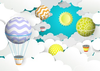 Hot air balloons in the sky, vector illustration in paper art style
