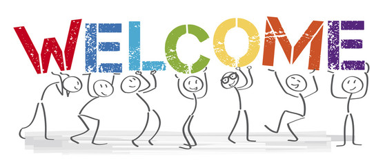 Welcome - people with big letters Wall mural