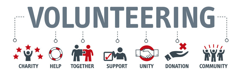 Banner Volunteer Voluntary Volunteering vector concept with icons