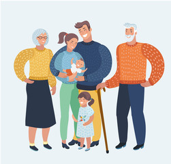 Happy family, mother, father, two children, grandparents. Festive clothing, a good mood. Characters for cards.
