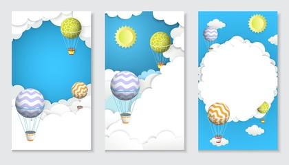 Hot air balloon vector paper cut vertical banner set