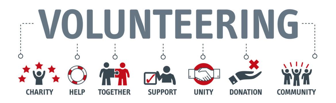 Banner Volunteer Voluntary Volunteering vector concept with icons