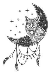 Vector boho fox tattoo or t-shirt print design