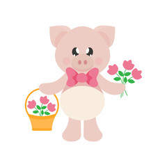 cartoon cute pig with tie and flowers and basket