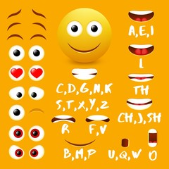 Male emoji mouth animation vector design elements