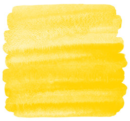 Yellow watercolor background with stains and rough, uneven rounded edges. Painted watercolour texture. Brush stroke square shape. Bright aquarelle template for cards, banners, posters.