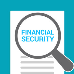 Protection Concept: Magnifying Optical Glass With Words Financial Security