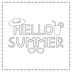 Hand drawn text Hello summer. Coloring page.
