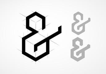 Elegant vector ampersand on light background