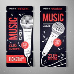 vector illustration music concert ticket design template with microphone and cool grunge effects in the background